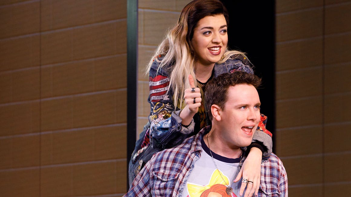 d44943af3 Barrett Wilbert Weed as Janis Sarkisian and Grey Henson as Damian Hubbard  in Mean Girls on