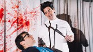 Jonathan Groff and Christian Borle in Little Shop of Horrors