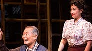 Michael K. Lee as Frankie Suzuki, George Takei as Sam Kimura and Lea Salonga as Kei in  'Allegiance'