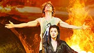 Andrew Polec as Strat and Christina Bennington as Raven in Bat Out of Hell the Musical