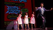 Jarran Muse as Marvin Gaye and cast in Motown The Musical