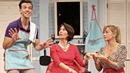 Jordan Ahnquist as Tony, Lynne Winterstellar as Mrs. Shubert and Kate Middleton as Barbara in 'Shear Madness'