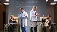Susannah Flood as Connie Hall, George Demas as Lab Tech, Kati Brazda as Dr. Lorna James & Carter Hudson as Tristan Frey in The Effect