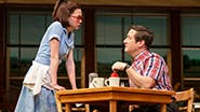 Kimiko Glenn as Dawn and Christopher Fitzgerald as Ogie in Waitress