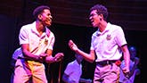 Jeremy Pope and Caleb Eberhardt in Choir Boy on Broadway