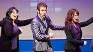 Perez Hilton and the cast in a scene from off-Broadway's NEWSical the Musical.