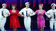 Jay Armstrong Johnson as Chip, Alysha Umphress as Hildy, Tony Yazbeck as Gabey, Elizabeth Stanley as Claire and Clyde Alves as Ozzie in 'On the Town.'