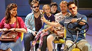 Stephanie J. Block as Sheryl Hoover, Rory O'Malley as Frank Hoover, Hannah Nordberg as Olive Hoover, Logan Rowland as Dwayne Hoover, David Rasche as Grandpa Hoover & Will Swenson as Richard Hoover in Little Miss Sunshine.