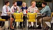 Stephanie J. Block as Sheryl Hoover, Rory O'Malley as Frank Hoover, Hannah Nordberg as Olive Hoover, David Rasche as Grandpa Hoover & Will Swenson as Richard Hoover in Little Miss Sunshine.