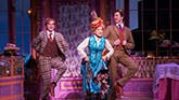 Taylor Trensch as Barnaby Tucker, Bette Midler as Dolly Levi and Gavin Creel as Cornelius Hack in Hello Dolly on Broadway.